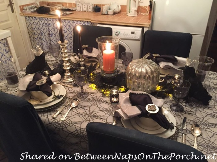 Halloween Table in Black and White