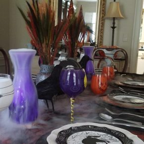 Halloween Table with Spooky Dry Ice Mist