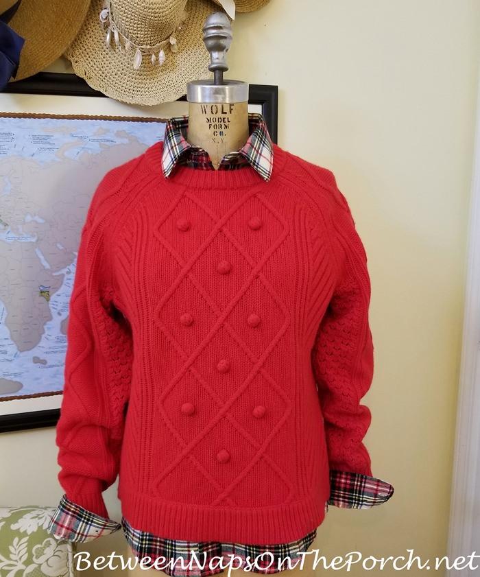 J. Crew Red Wool Sweater, L.L. Bean Flannel Tartan Shirt, Stewart Victoria
