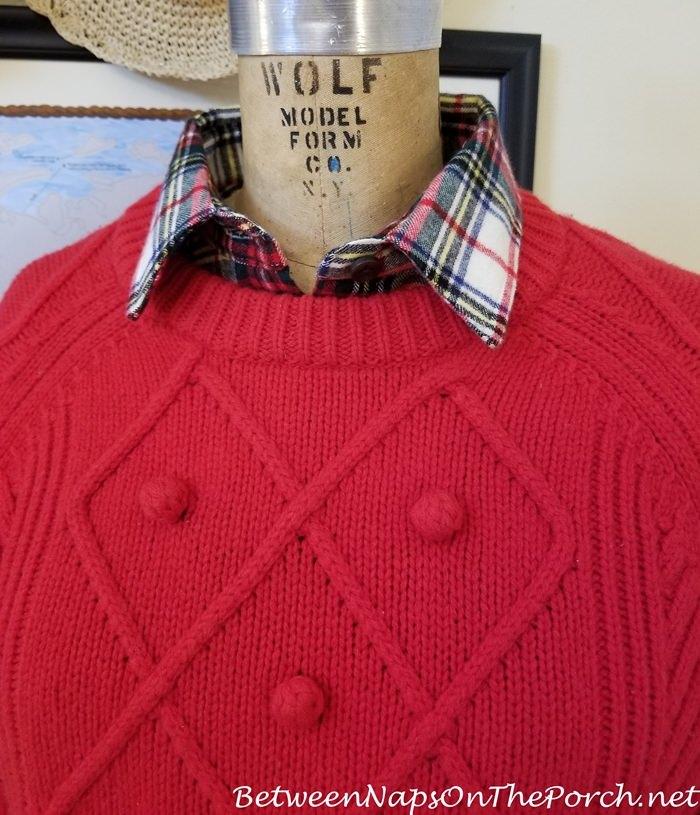 J. Crew Red Wool Sweater, L.L. Bean Stewart Victoria Flannel Shirt