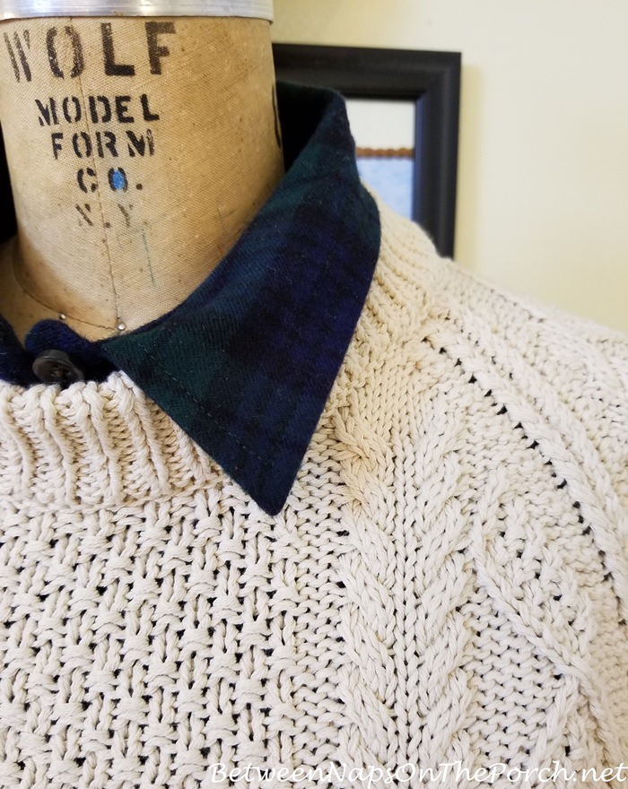L.L. Bean Fisherman Sweater with Black Watch Flannel Shirt