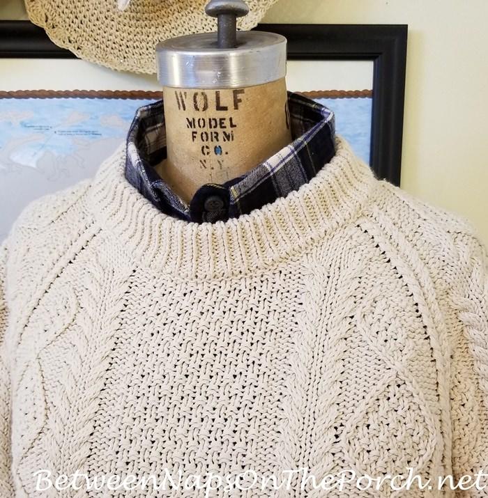 L.L. Bean Sweater with Navy Tartan Flannel Shirt