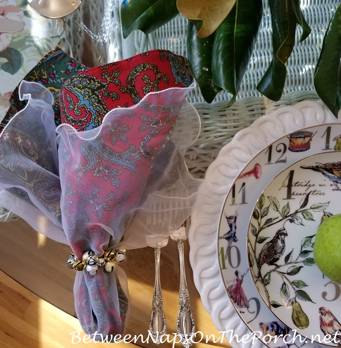 Napkins for 12 Days of Christmas Table with Goose & Magnolia Centerpiece