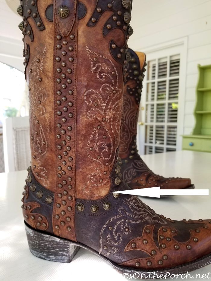 Old Gringo Boot with something caught underneath the leather