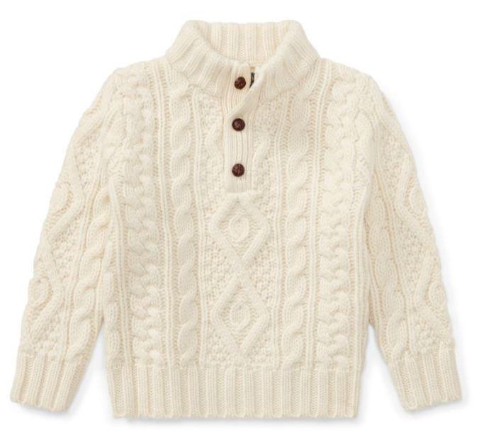 Ralph Lauren Aran Wool Sweater in Cream