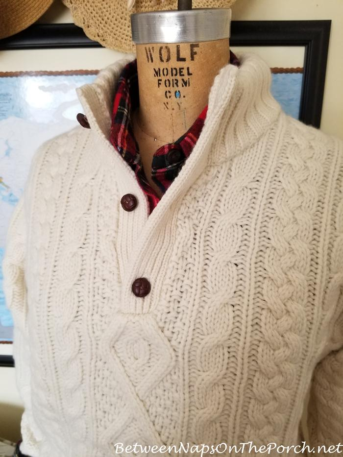 Ralph Lauren Cream Aran Casgmere Wool Sweater