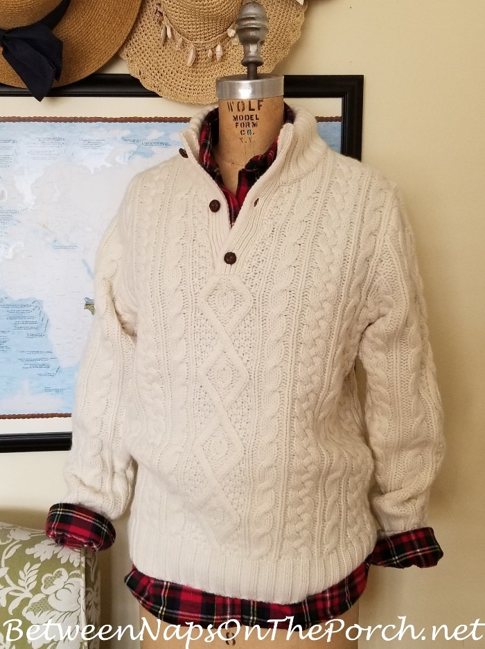 Ralph Lauren Cream Aran Wool-Cashmere Sweater