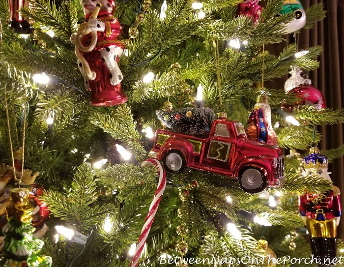 Red Truck with Christmas Tree Glass Ornament