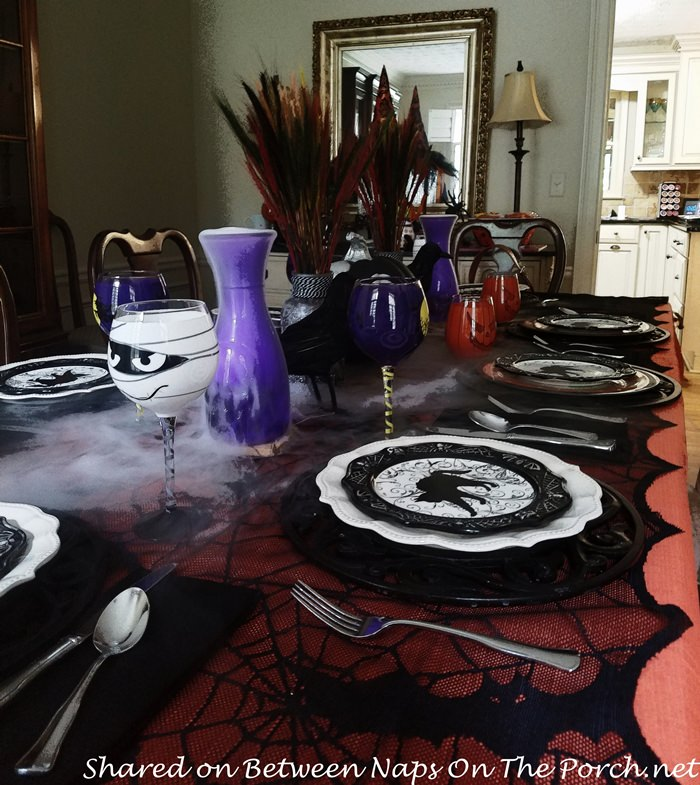 spooky halloween table with dry ice