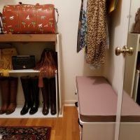 Closet & Door Updates: Small Storage Bench for Putting on Boots and Shoes