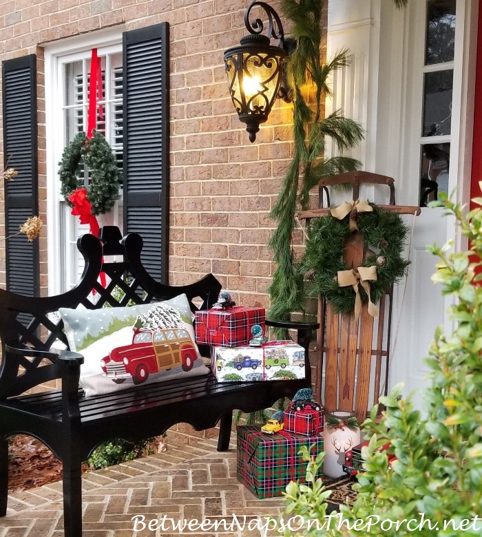 A Christmas Porch with Sled, Presents for a Fantasy Porch