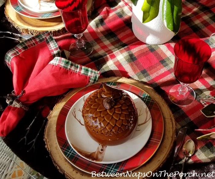 Acorn Soup Tureens in Christmas Table Setting