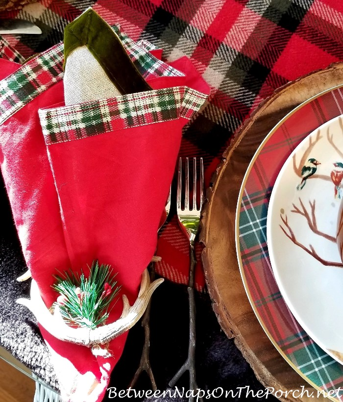 Antler Ornament Napkin Rings, Twig Flatware, Christmas Table