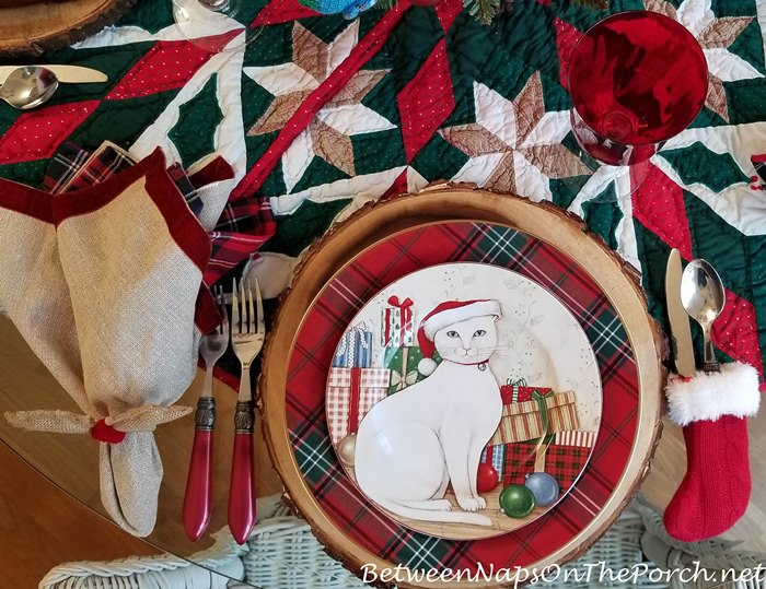 Christmas Kitties Dinnerware by David Carter Brown, Plaid Dinner Plates, Bark Edged Chargers
