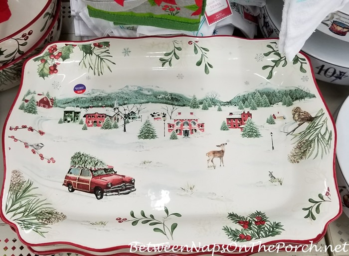 Christmas Platter with Woody Car Bringing Home the Tree