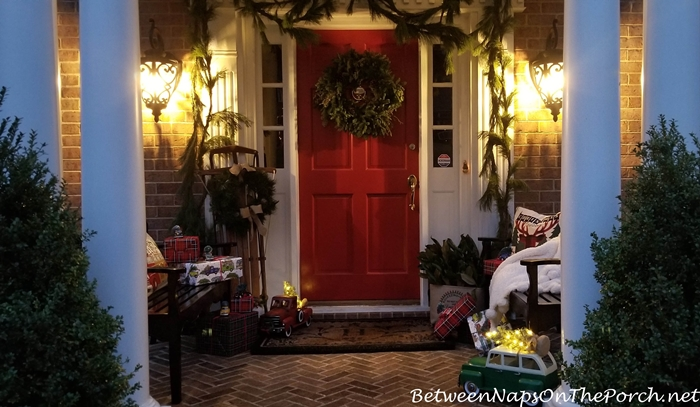 Christmas Porch Decor by Lantern Light
