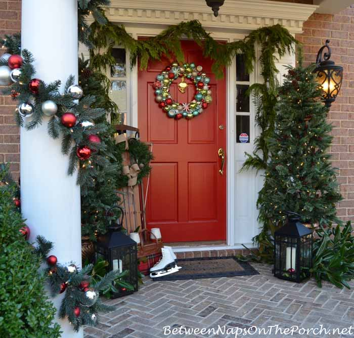 Christmas Porch With Garland and Martha Stewart Ornament Wreath