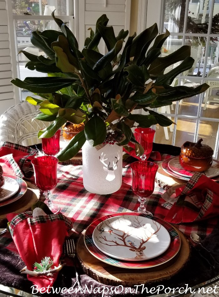 Christmas Table, Magnolia Centerpeice Deer Salad Plates, Plaid Dinner Plates