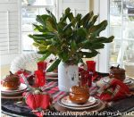 Woodland Christmas Table Setting with Magnolia Centerpiece