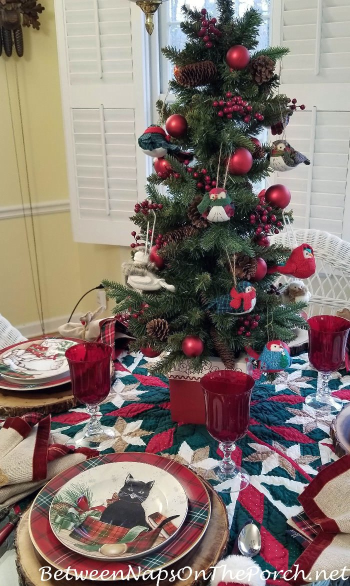 Christmas Table Setting with Bird Tree Centerpiece and Cat Dinnerware by David Carter Brown