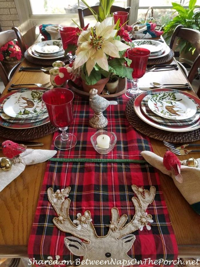 Christmas Table with a Mix of Different Plaid Dinnerware Patterns 02