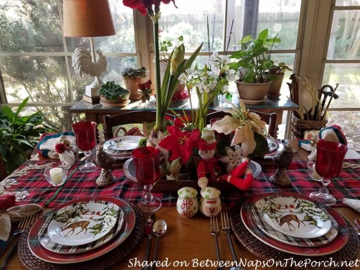 Christmas Table with a Mix of Different Plaid Dinnerware Patterns 03