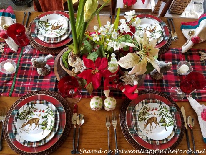 Christmas Table with a Mix of Different Plaid Dinnerware Patterns 04