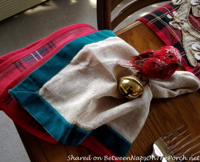 Christmas Table with a Mix of Different Plaid Dinnerware Patterns 07