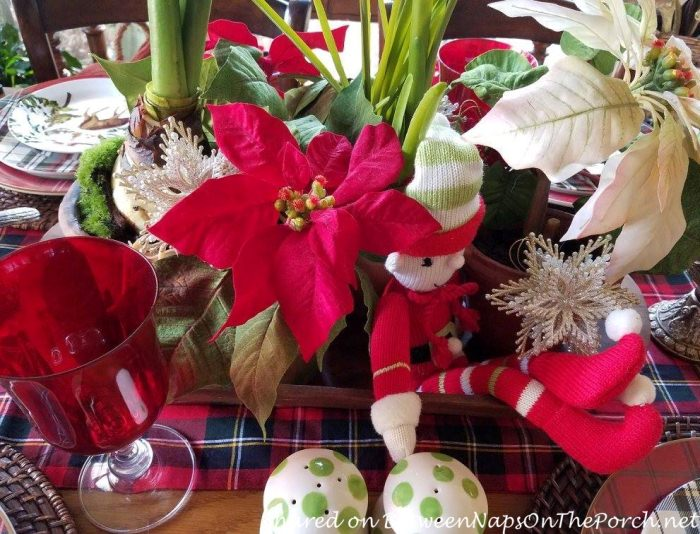 Christmas Table with a Mix of Different Plaid Dinnerware Patterns 10
