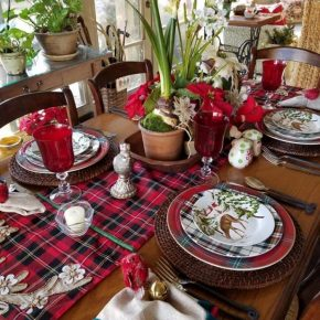 Christmas Table with a Mix of Different Plaid Dinnerware Patterns