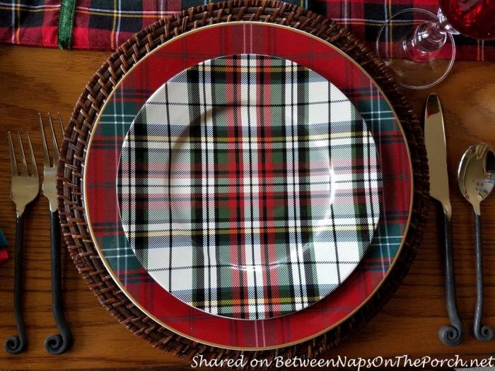 Christmas Table with a Mix of Plaid Plates