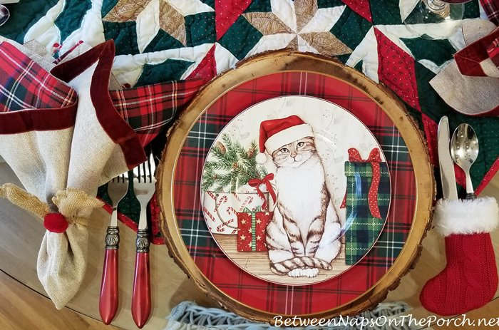David Carter Brown Christmas Dinnerware with Christmas Kitties