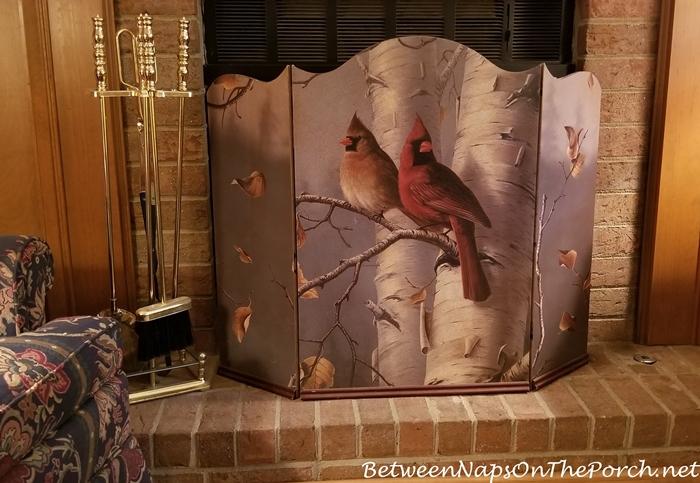 Firescreen with Cardinal Birds in a Birch Tree