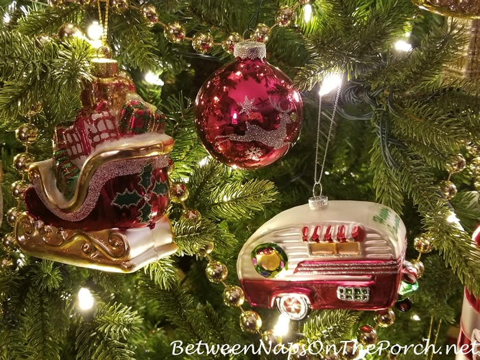 Glass Christmas Ornaments, Sleight and Camper