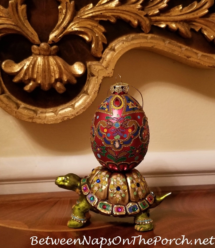 Glass Ornament, Turtle Carrying Ornate Egg