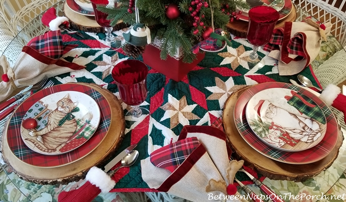 Kitty Cat Plates in Christmas Table Setting