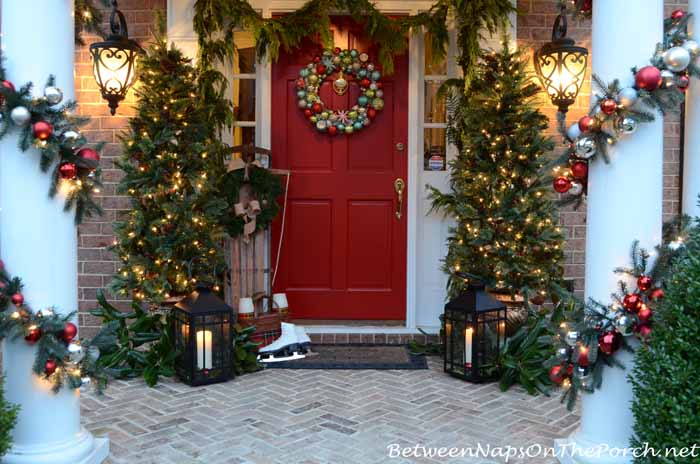 Lighted Christmas Tree Topiaries For The Porch