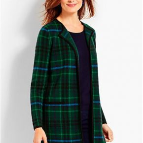 Long Plaid Sweater, Black, Blue and Green