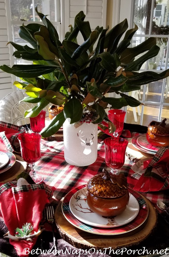 Magnolia Branches in Reindeer Jar for Christmas Table Setting
