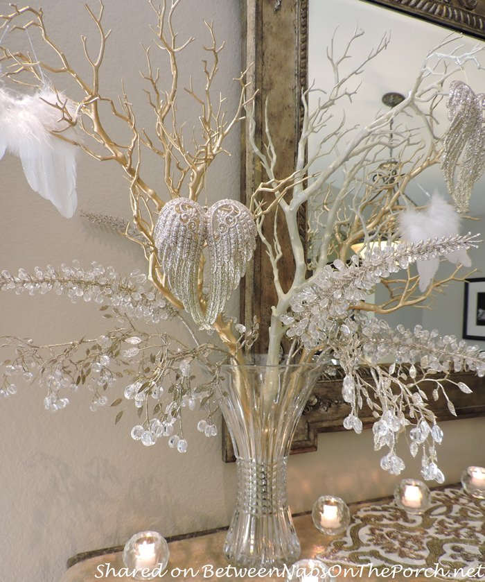 Manzanita Branches Painted White and Gold Leaf