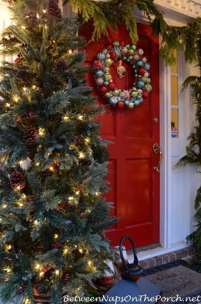 Martha Stewart Lit Christmas Trees For A Christmas Porch