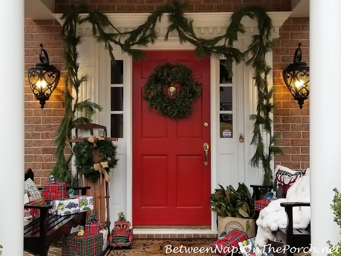 Porch Decorated Whimsically for Christmas
