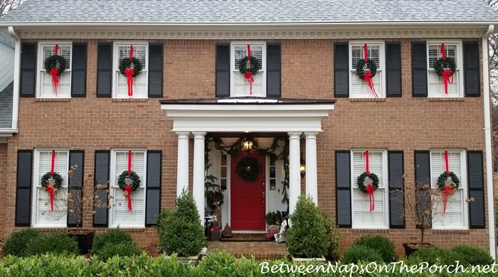 Porch Decorated for Christmas, 2017