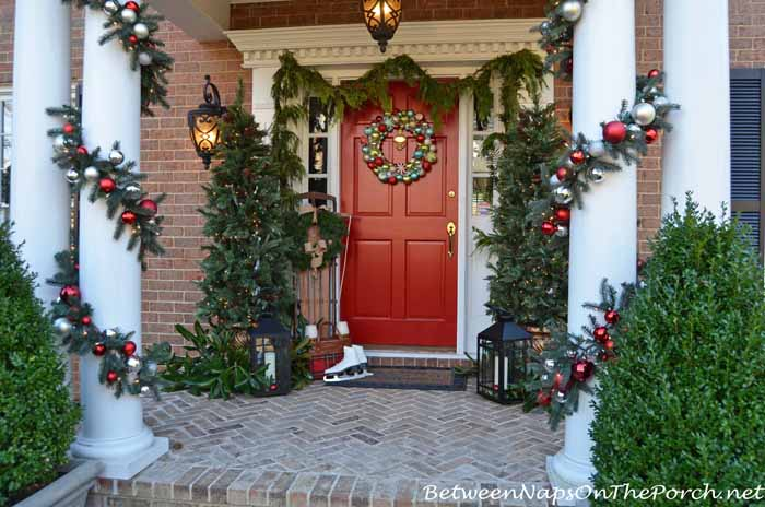 Porch Decorated for Christmas Holidays