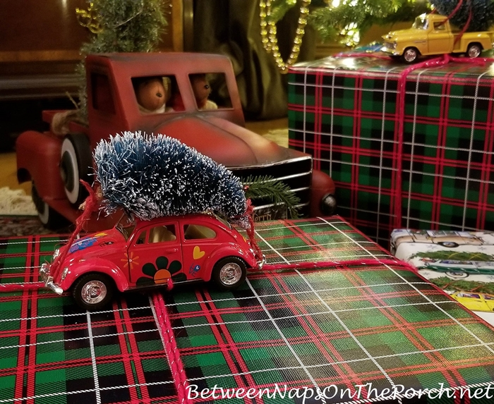VW Beetle Bug Car Bringing Home the Christmas Tree Gift Wrap