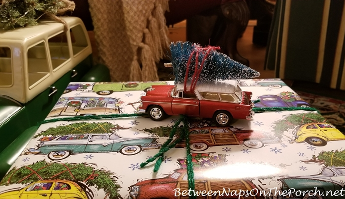 Vintage Chevy Nomad Car Bringing Home the Christmas Tree