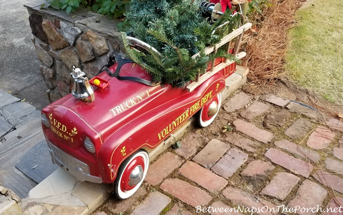 Vintage Child's Toy Fire Truck Decorated for Christmas