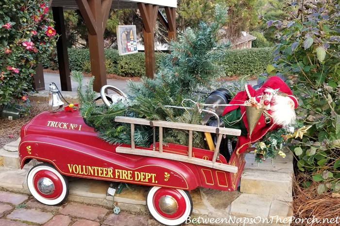 Vintage Toy Fire Truck Decorated for Christmas