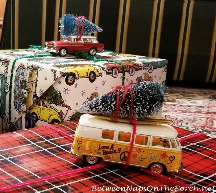 Volkswagen Van Bringing Home the Christmas Tree, Chrisstmas Gift Wrap Ideas