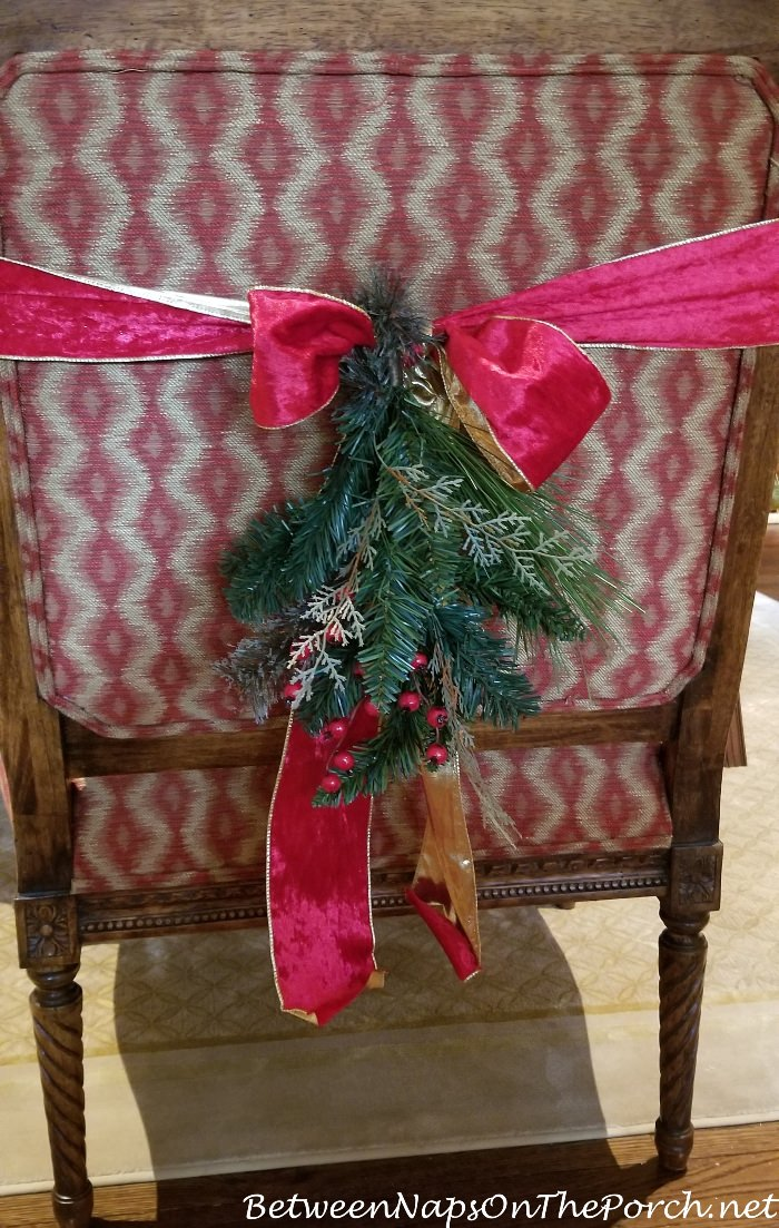 Decorate Back of Chair with Ribbon and Greenery